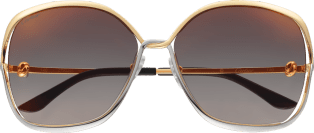 Trinity sunglasses Smooth golden-finish and platinum-finish metal, graduated gray lenses with golden flash