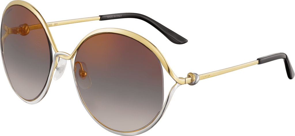 Trinity sunglassesSmooth golden-finish and platinum-finish metal, graduated gray lenses with golden flash