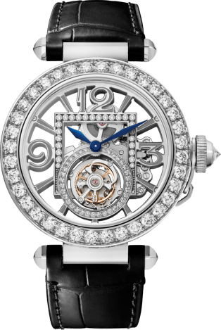 Pasha de Cartier watch 41 mm, mechanical movement with manual winding, white gold, diamonds, 2 interchangeable leather straps