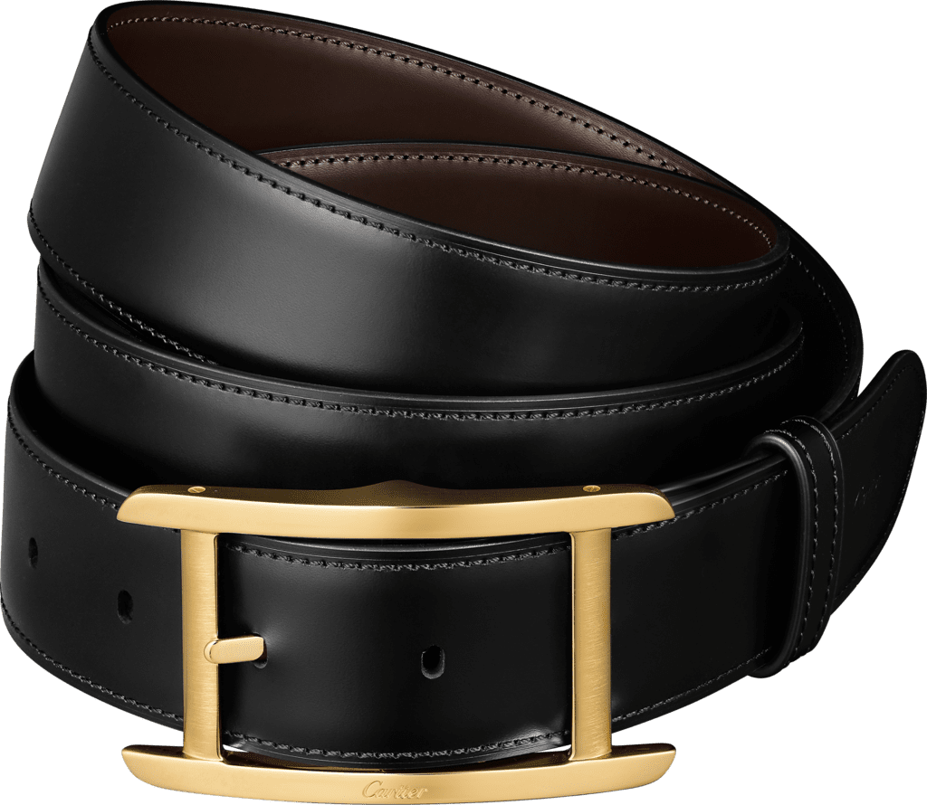 Tank BeltBlack and brown smooth cowhide, gold-finish buckle