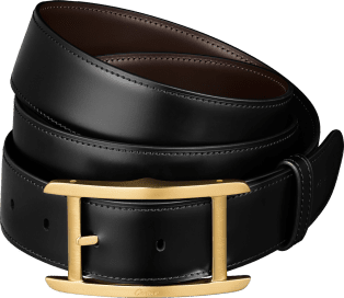 Tank Belt Black and brown smooth cowhide, gold-finish buckle