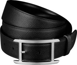 Tank Belt Black grained and smooth cowhide, palladium-finish buckle