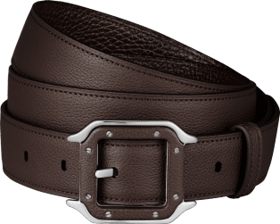 Santos de Cartier belt Grained ebony cowhide, palladium-finish buckle and covered with leather