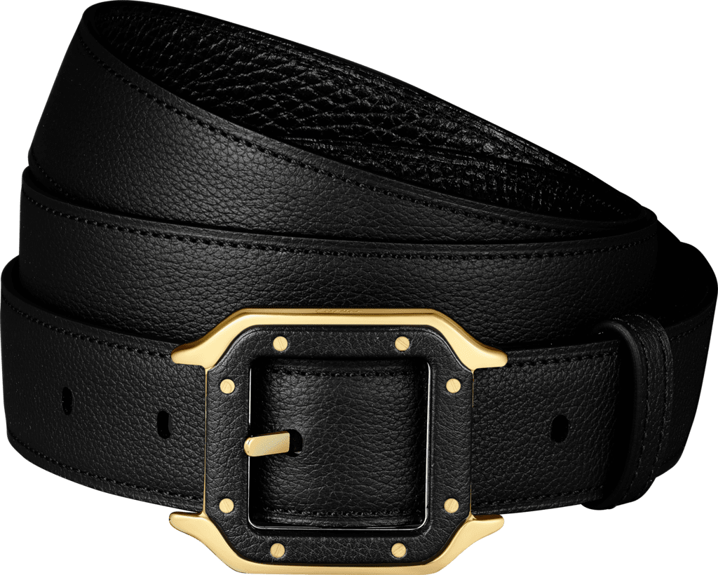 Santos de Cartier beltBlack grained cowhide, gold-finish buckle and covered with leather
