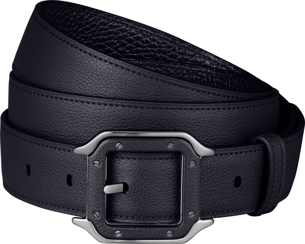 Santos de Cartier beltGrained midnight blue cowhide, palladium-finish buckle and covered with leather