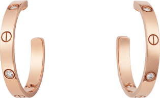 Love earrings Pink gold, diamond