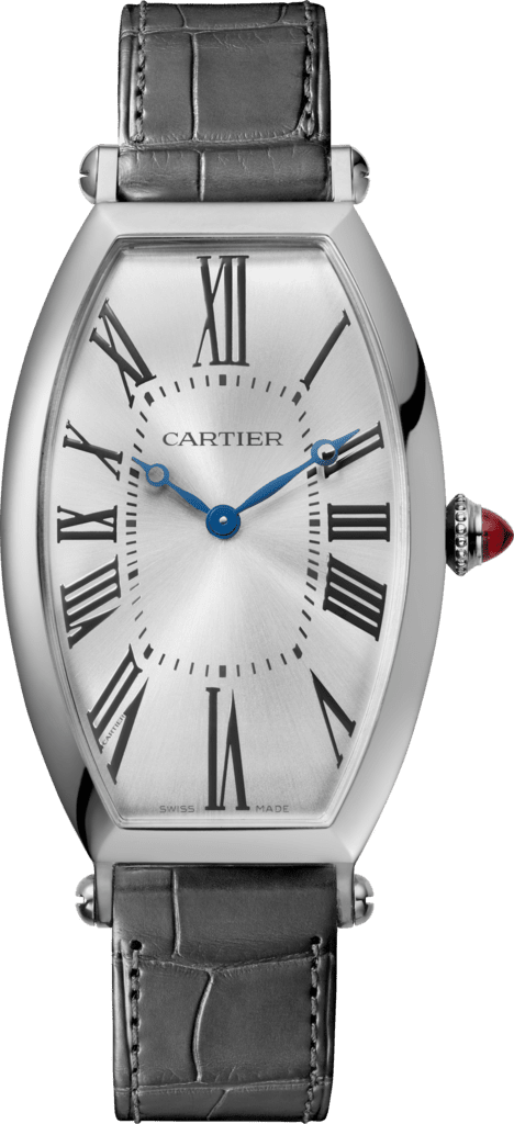 Tonneau watchLarge model, hand-wound mechanical movement, platinum, leather