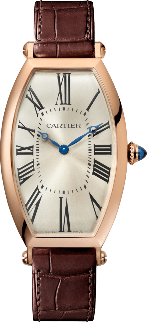 Tonneau watchLarge model, hand-wound mechanical movement, pink gold, leather