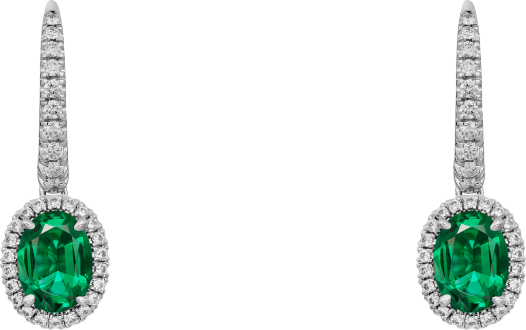 Cartier Destinée earrings with colored stoneWhite gold, emerald, diamonds