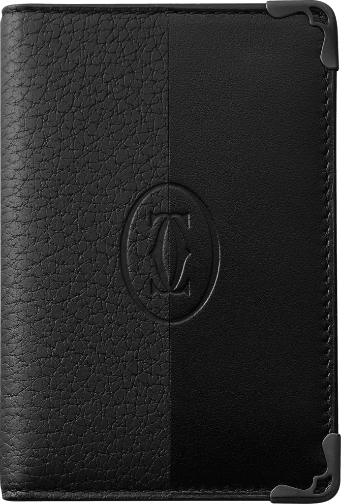 Must de Cartier 4-card holderSmooth and grained black calfskin, black PVD finish