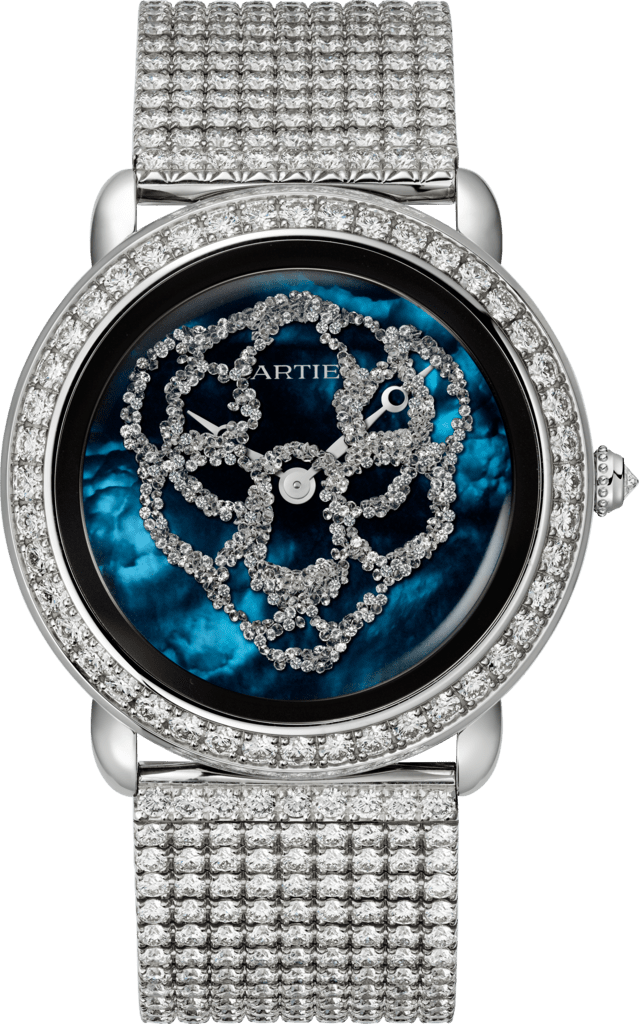 Watch with menagerie motif37mm, mechanical movement with manual winding, white gold, diamonds, metal bracelet