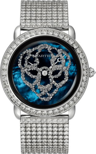 Watch with menagerie motif 37mm, mechanical movement with manual winding, white gold, diamonds, metal bracelet