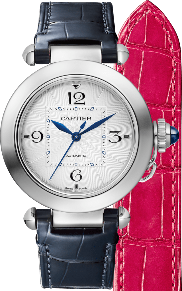 Pasha de Cartier watch35mm, automatic movement, steel, 2 interchangeable leather straps