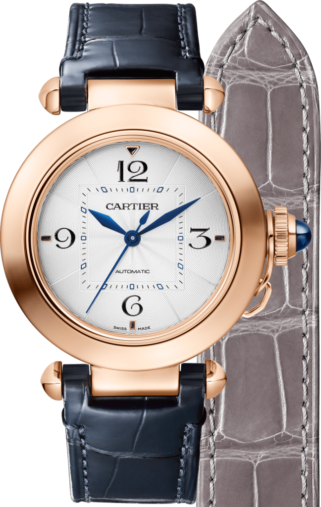 Pasha de Cartier watch35 mm, automatic movement, pink gold, 2 interchangeable leather straps