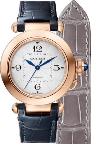 Pasha de Cartier watch 35 mm, automatic movement, pink gold, 2 interchangeable leather straps