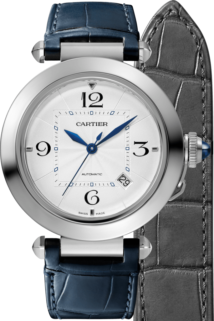 Pasha de Cartier watch41 mm, automatic movement, steel, 2 interchangeable leather straps
