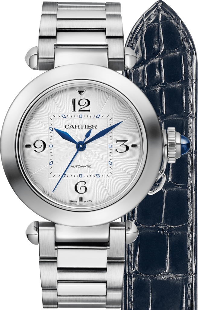 Pasha de Cartier watch35mm, automatic movement, steel, interchangeable metal and leather straps