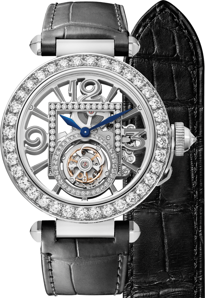 Pasha de Cartier watch41 mm, mechanical movement with manual winding, white gold, diamonds, 2 interchangeable leather straps