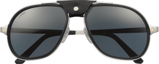 Santos de Cartier sunglasses Smooth and brushed metal, blue lenses with silver flash