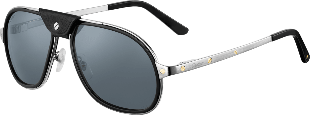 Santos de Cartier sunglassesSmooth and brushed metal, blue lenses with silver flash