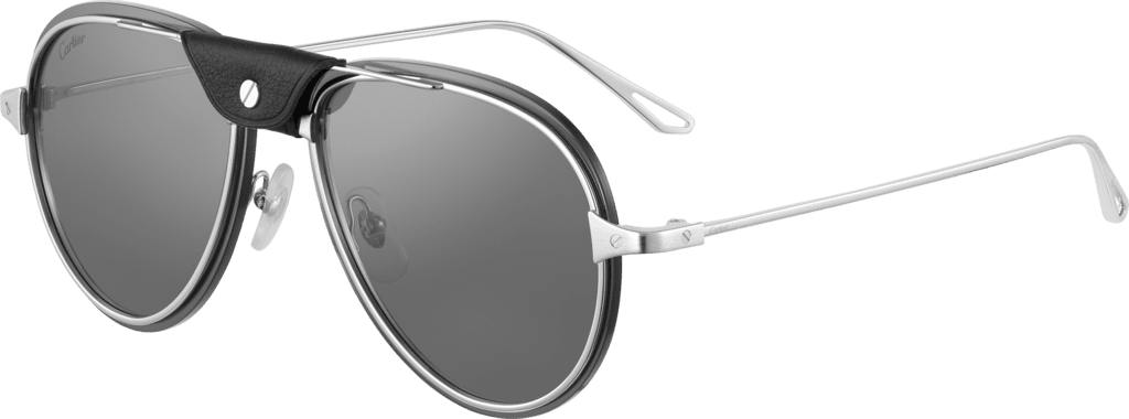 Santos de Cartier sunglassesSmooth and brushed platinum-finish metal, gray lenses with silver flash