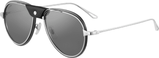 Santos de Cartier sunglasses Smooth and brushed platinum-finish metal, gray lenses with silver flash