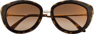 Trinity sunglasses Combined tortoiseshell composite, smooth golden-finish and platinum-finish metal, brown lenses with golden flash