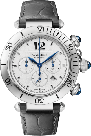 Pasha de Cartier watch 41 mm, chronograph, automatic movement, steel, interchangeable metal and leather straps