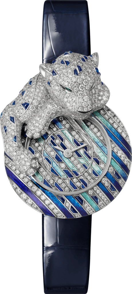 Watch with menagerie motif28.4 mm, rhodiumized white gold, diamonds, leather