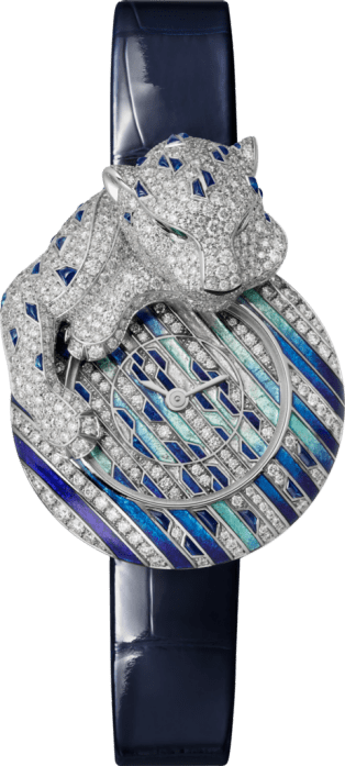 Watch with menagerie motif 28.4 mm, rhodiumized white gold, diamonds, leather
