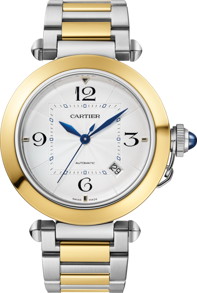 Pasha de Cartier watch41 mm, automatic movement, 18K yellow gold and steel, interchangeable metal and leather straps