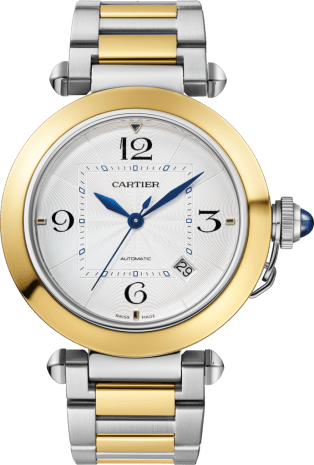 Pasha de Cartier watch 41 mm, automatic movement, 18K yellow gold and steel, interchangeable metal and leather straps