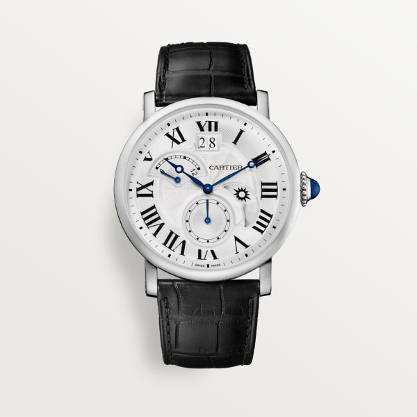 Rotonde de Cartier watch, Large Date, Retrograde Second Time Zone and Day Night Indicator 42mm, automatic movement, steel, leather