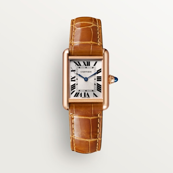 Tank Louis Cartier watch Small model, hand-wound mechanical movement, rose gold, leather