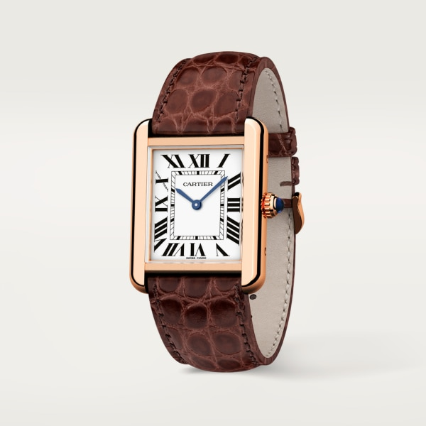 Tank Solo watch Small model, quartz movement, rose gold, steel, leather