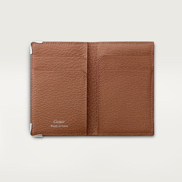 4-Credit Card Holder, Must de Cartier Taupe-colored grained calfskin, stainless steel finish