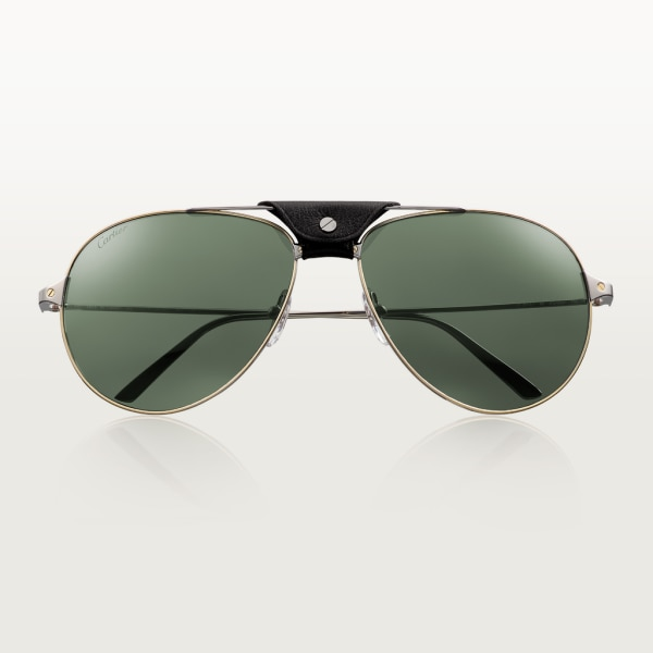 Santos de Cartier sunglasses Metal, smooth ruthenium and golden finish, gray lenses with silver-toned flash.