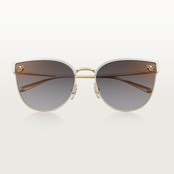 Panthère de Cartier sunglasses Smooth golden-finish and brushed platinum-finish metal, gray lenses with golden flash