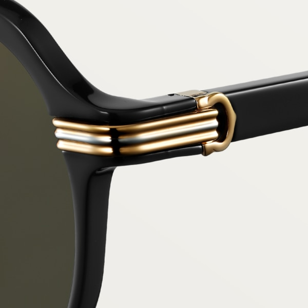 Première de Cartier sunglasses Black composite, smooth platinum and smooth champagne golden-finish metal, gray lenses with golden flash
