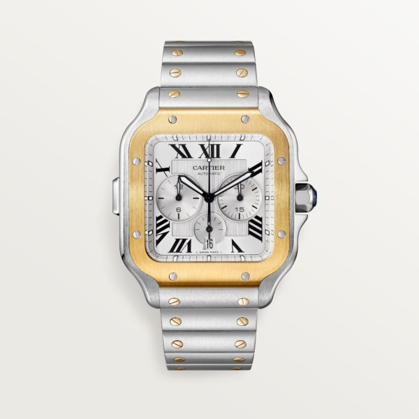 Santos de Cartier Chronograph watch Extra-large model, automatic movement, yellow gold, steel, interchangeable metal and rubber bracelets