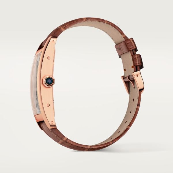 Tank Américaine watch Large model, automatic movement, rose gold, leather