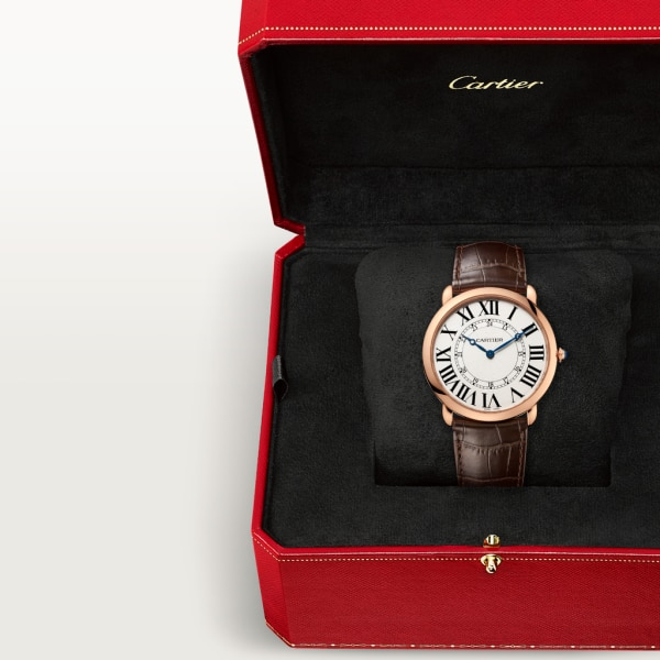 Ronde Louis Cartier watch 42mm, hand-wound mechanical movement, rose gold, leather