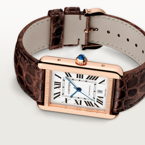 Tank Solo watch Extra-large model, automatic movement, rose gold, steel, leather