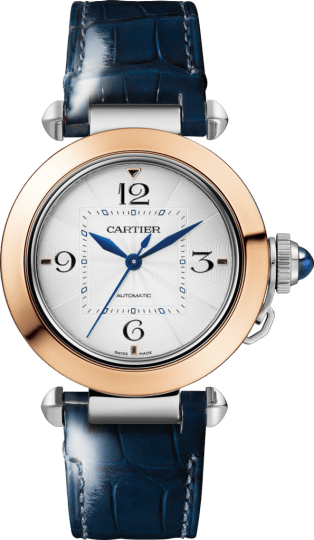 Pasha de Cartier watch 35 mm, automatic movement, rose gold and steel, interchangeable metal and leather straps