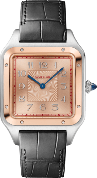 Santos-Dumont watch Extra-large model, hand-wound mechanical movement, 18K pink gold, steel, leather, limited edition of 500 pieces