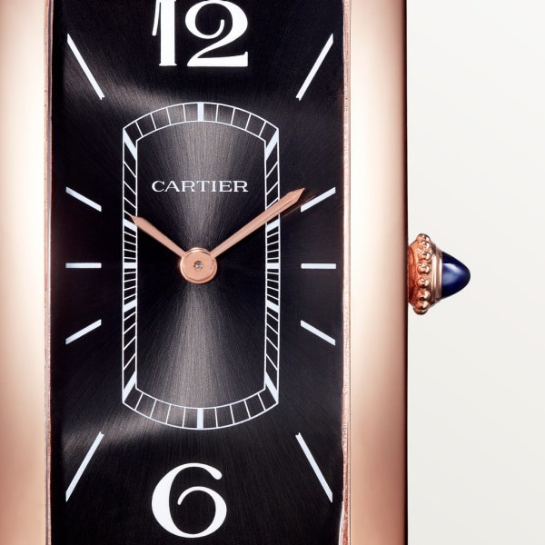 Tank Cintrée watch Large model, hand-wound mechanical movement, rose gold, leather