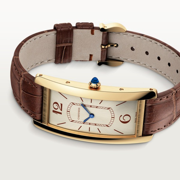Tank Cintrée watch Large model, hand-wound mechanical movement, yellow gold, leather