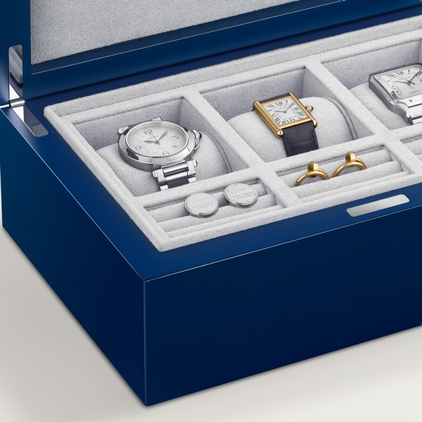 Entrelacés de Cartier three watch and cufflink box, large model Lacquered wood