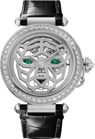 Other Panthère Jewelry Watches 41 mm, hand-wound movement, 18K white gold, diamonds, interchangeable leather straps