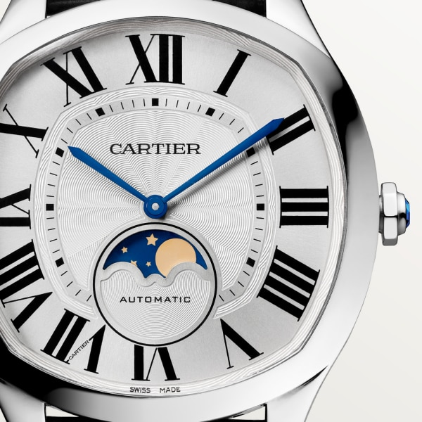 Drive de Cartier Moon Phases watch Large model, automatic movement, steel, leather